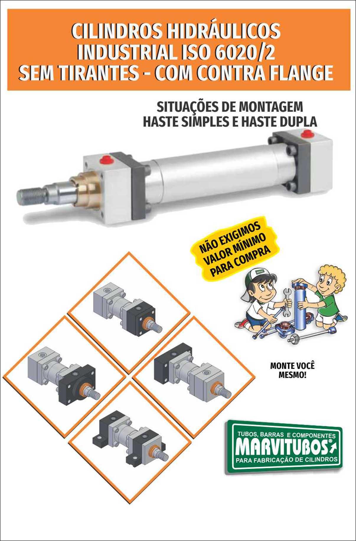 SITUAÇÃO DE MONTAGEM CILINDRO HIDRÁULICO CONTRA FLANGE  ISO 6020/2 - PRESSÃO: 210 BAR